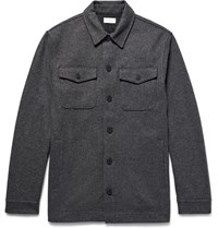 Club Monaco Melange Brushed Wool Blend Shirt Jacket Charcoal