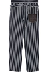 Tod's Leather Trimmed Striped Cotton Poplin Tapered Pants Navy