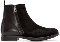 Diesel Black Velvet And Leather Boots