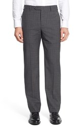 Zanella Men's 'Devon' Flat Front Check Wool Trousers Medium Grey