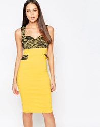 Vesper Taylor Sweetheart Neckline Pencil Dress With Lace Yellow