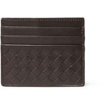 Bottega Veneta Intrecciato Woven Leather Card Holder Brown