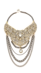 Laura Cantu Rhinestone Studded Flower Bib Necklace Clear Brass