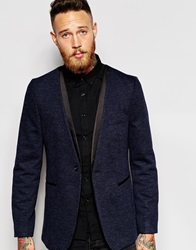 Asos Slim Collarless Blazer In Jersey Navy