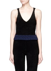 Xiao Li 'Lusso' Knotted Rib Knit V Neck Tank Top Black