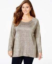 American Rag Plus Size Long Sleeve Scoop Neck Top Only At Macy's Champagne Beige