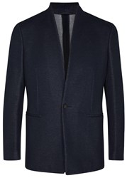 Kilgour Navy Pique Cotton Jersey Jacket