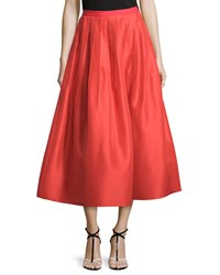 Oscar De La Renta Pleated Silk Faille A Line Skirt Coral