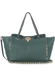 Valentino Rockstud Grained Leather Tote Dark Green