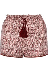 Talitha Printed Silk And Cotton Blend Shorts Plum