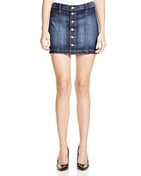 Flying Monkey Button Front Denim Mini Skirt Dark Blue