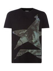 Diesel Men's Palm Tree Graphic Crew Neck T Shirt Black
