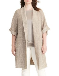 Lauren Ralph Lauren Plus Cotton Shawl Collar Cardigan Hayfield Heather