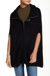 Lulu Ribbed Knit Poncho Zip Sweater Black