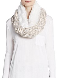 Saks Fifth Avenue Faux Fur Accented Marled Knit Infinity Scarf Frosted Oat