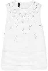 Mother Of Pearl Hazel Embellished Silk Organza And Cotton Blend Top White