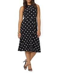 Lauren Ralph Lauren Plus Polka Dot Jersey Dress Black Colonial Cream