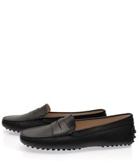 Tod's Black Mocassino Gommino Leather Driving Loafers