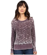 Allen Allen Long Sleeve Crew Eggplant Women's Clothing Purple