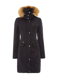 Andrew Marc New York Long Padded Coat With Matte Finish Black