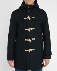 M.Studio Navy Geoffroy Wool Blend Duffle Coat