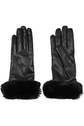Valentino Angora Trimmed Leather Gloves Black