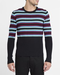 Carven Navy Pixel Multi Colour Round Neck Sweater Blue