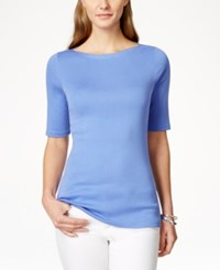 Charter Club Petite Elbow Sleeve Boat Neck Pima Cotton Tee Only At Macy's