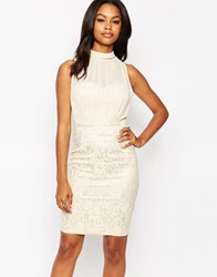 Little Mistress Pencil Dress With Lace Skirt Beige