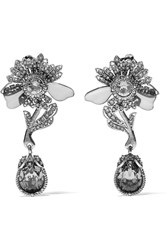 Alexander Mcqueen Silver Tone Crystal And Plexiglas Clip Earrings