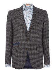 Simon Carter Dogstooth Wool Jacket Grey