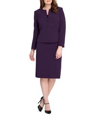 Tahari By Arthur S. Levine Plus Solid Skirt Suit French Purple