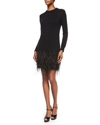 Michael Kors Long Sleeve Feather Hem Dress Black Women's