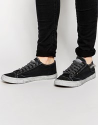 Bronx Washed Canvas Plimsols In Black Black