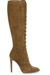 Gianvito Rossi Suede Knee Boots Army Green