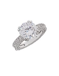 Michela Pave Accented Rhinestone Ring Silver