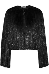 Givenchy Fringed Jacket In Black Silk Satin