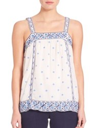 Joie Magali Cotton Gauze Tank Porcelain Shades Of Blue