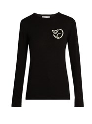 Bella Freud El Vera Cat Intarsia Knit Wool Sweater Black