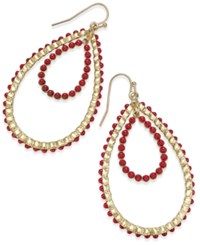 Thalia Sodi Gold Tone Red Stone Double Teardrop Earrings Only At Macy's