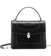 Bulgari Serpenti Forever Leather Shoulder Bag Black