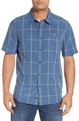 Quiksilver Men's Waterman Collection 'Slow And Steady' Plaid Short Sleeve Sport Shirt