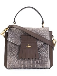 Vivienne Westwood Alligator Skin Effect Tote Bag Brown