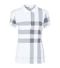 Burberry Check Stretch Cotton Pique Polo Shirt Female White