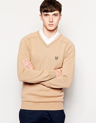 Lyle And Scott 1960 Jumper With V Neck In Lambswool Camel