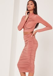 Missguided Pink Ruched Side Slinky Midi Skirt Rose