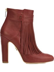 Maiyet 'Blake' Fringe Heeled Booties Red