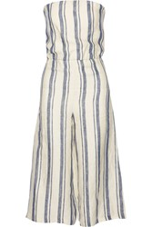 Alice Olivia Lucie Cropped Striped Linen Jumpsuit White