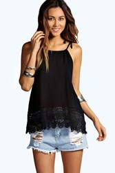 Boohoo Halter Crochet Trim Top Black