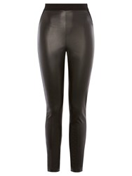 Karen Millen Faux Leather And Jersey Leggings Black